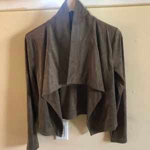 draped faux suede blazer Romeo and Juliet couture